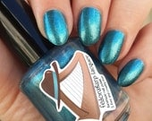 Eliza (mini size & full size)- Teal shimmer metallic indie polish by Fedoraharp Lacquer