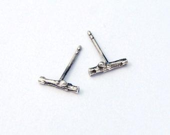 Larch twig bar stud earrings - sterling silver twig post earrings