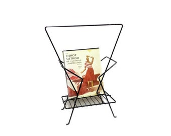 SALE Vintage Magazine Stand - 1950s Wrought Iron Magazine Rack, Mid Century Modern, Atomic Metal Book Rack, Eames Catch All, Danish Modern