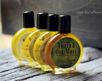 Natural perfume cologne - Dark Amber and Oak Moss - jojoba oil based cologne perfume - choose size