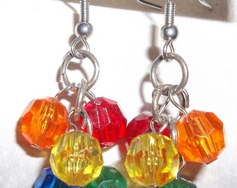 Beaded Dangle Rainbow Earrings