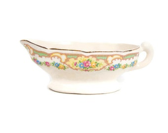 Vintage Pastel Floral Gravy Bowl Mildred Pattern Mt Clemens Pottery Co USA Pink Blue Yellow Roses