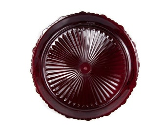 Vintage Avon Cape Cod Ruby Red Glass Plate 11 inch Two Tier Tray Replacement Wheaton Glass