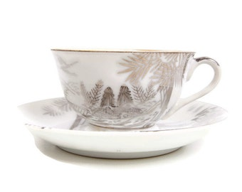 Vintage Hayasi Kutani Teacup Saucer White and Silver Fine Bone China Mt Fuji Footbridge Made in Japan