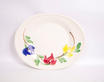 Vintage Blue Ridge Pottery Platter Carnival Pattern Hand Painted Southern Potteries Serving Dish