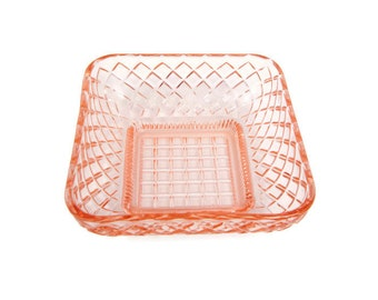 Vintage Pink Square Glass Candy Bowl Basket Weave Pattern Retro Dish