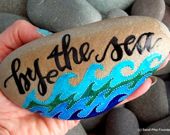 By the sea / painted stones / painted rocks / Cape Cod / paperweights / blues / beach decor / home decor / ocean theme / words in stone /art