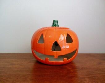 Halloween Jack O Lantern with Electric Light Happy Ceramic Pumpkin