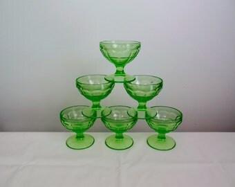 Hazel Atlas Colonial Block Vaseline Green Sherbet Set of Six Depression Glass Champagnes