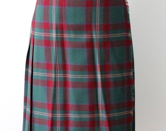 Scotland tartan vintage skirt / green red purple plaid skirt / womens classic pleated wool skirt pleated / highland outlander inspired style