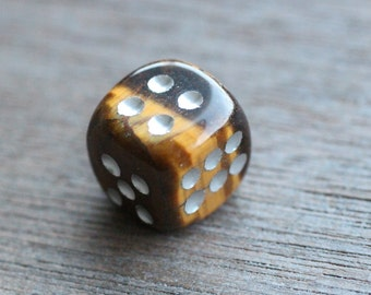 Tiger Eye Stone Carved Dice Figurine F34