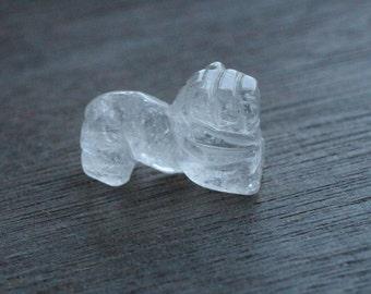 Clear Quartz Lion Stone Animal Figurine F127