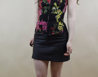 90s Grunge Goth Romantic Floral Rose Print Hook And Eye Lace Up Sweetheart Boned Overbust Corset XS / S