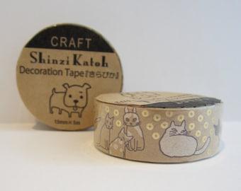 Japanese kraft paper decoration tape - cats by Shinzi Katoh