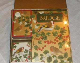 Jumbo Print CASPARI WINTER BIRDS Bridge Set Score Pad Double Deck Cards Sealed In Box Card Game Set