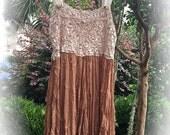 Romantic Boho Vintage Style Jumper/ Dress Ribbon Ruche Design Tea Colored Haute Couture