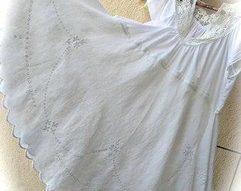 Swirly Poets Tunic Dress Romantic Linen Rustic  White Romantic Beauty