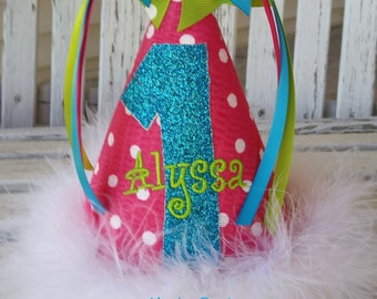 Girls 1st Birthday Hat - Baby Girls Polka Dot Party Hat -  Cake Smash Hat - Girls Candyland Birthday Party Theme