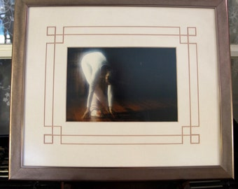 "Vintage 90's  professionally framed  and matted ballerina  photograph 13 1/2"" x 11 1/4"""