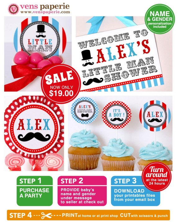 Little Man Mustache Baby Shower Package Personalized FULL Collection Set - PRINTABLE DIY - BS829CA1x