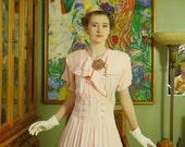 Retro Peachy Pink Tea Dress . Eccentric 80's does Flirty 30's/ 40's . Vintage Swing Midi . Ruffle Cape Collar . NINA PICCALINO label . .