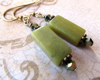 Turquoise Gold Earrings Green Earrings Moss Green Earrings Turquoise Earrings Serpentine Earrings Olive Green Earrings- Mother Earth