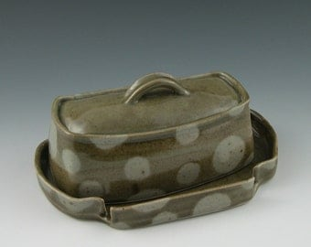 Butter Dish in Sage Green Polka Dots Handmade Pottery