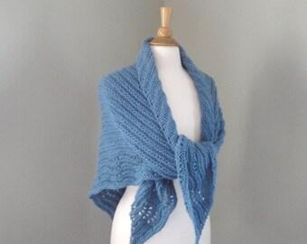 Blue Shawl Wrap, Knitted Wool Acrylic, Soft Cozy Prayer Shawl, Large Shawl