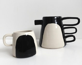 Contrast Pitcher and Mug Black and White Porcelain Pitcher Made to Order