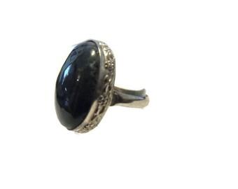 Vintage Sterling Moss Agate Ring Size 7.5 Floral Bezel