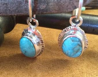 Boho Style Burtis Blue Turquoise Sterling Silver Earrings