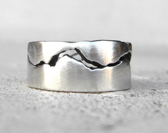 Cascades OG Mountain Ring, 10-11mm band, Mountain Wedding, Handmade from recycled Silver, Gold, Palladium & Platinum