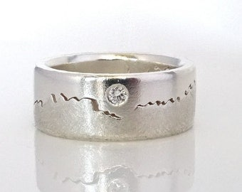 Diamond Mountain Ring, 8mm band, Solitaire Diamond, Handcrafted with your choice of Sterling Silver, Palladium, Gold or Platinum