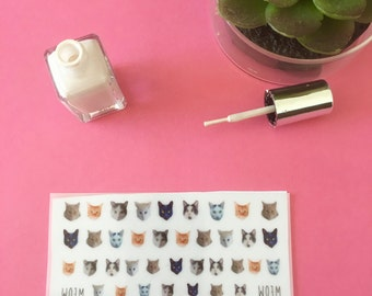 Cute Kitty Cat Nail Decals - pk40