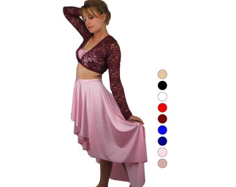Long dance skirt - choose your color - dance skirt - high low circle cut