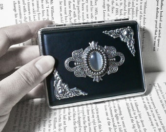 Vintage Style Cigarette Case Smoking Accessories Victorian Cigarette Case Gothic Cigarette Case Black Cigarette Holder With White Stone
