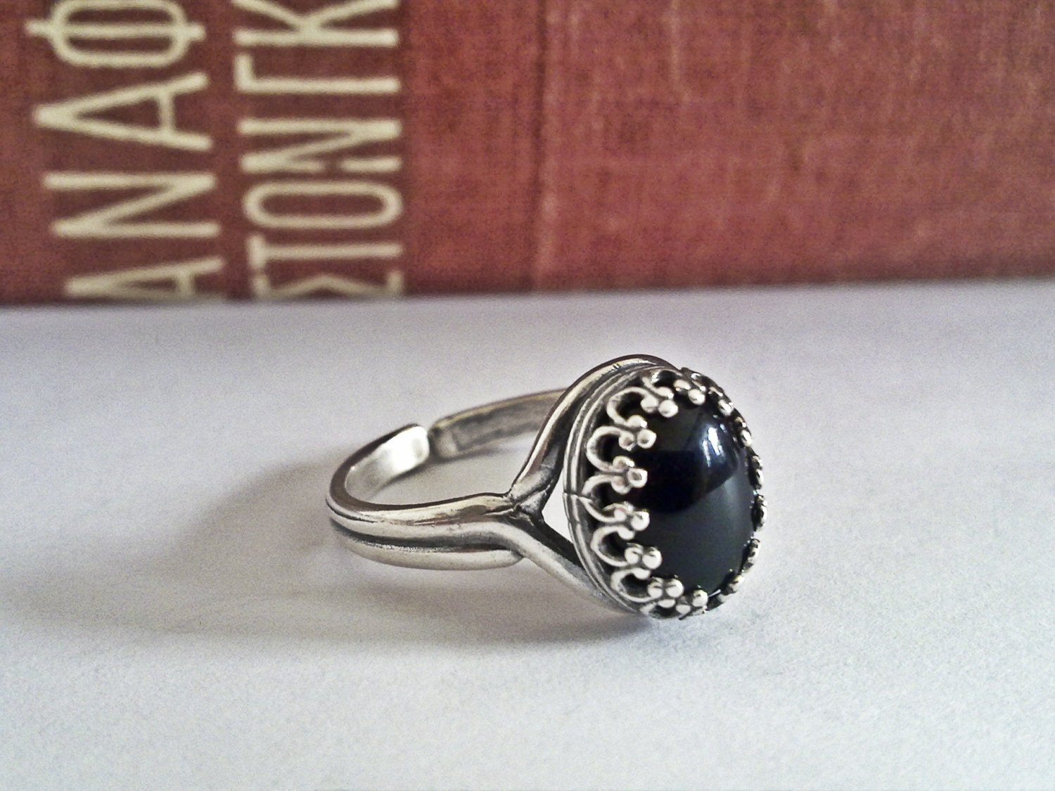 black onyx ring black stone ring onyx jewelry by. Black Bedroom Furniture Sets. Home Design Ideas