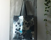 nordic design grocery bag with long handles / lunch bag made in cotton / capacious shopping bag / gift for new mom / cold colours tote bag