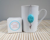 Tea Infuser / Free Shipping in USA / Seashell Charm / Real Magnesite Stone / U.S.A Made Lead Free Charm / Gift Boxed