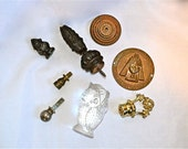 Fun Collection 8 Pieces of Vintage Stuff Low Price, Brass Wood and Glass