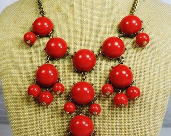 Vintage Red Beaded Necklace, bib style