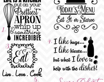 80% OFF Sale Svg Cuttables Kitchen Quotes Cut Files Set DXF SDD041