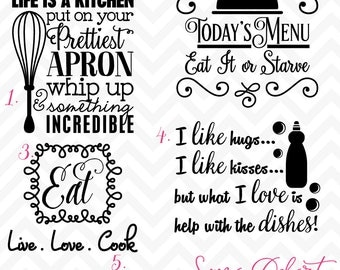 60% OFF SALE Svg Cuttables Kitchen Quotes Cut Files Set DXF SDD041
