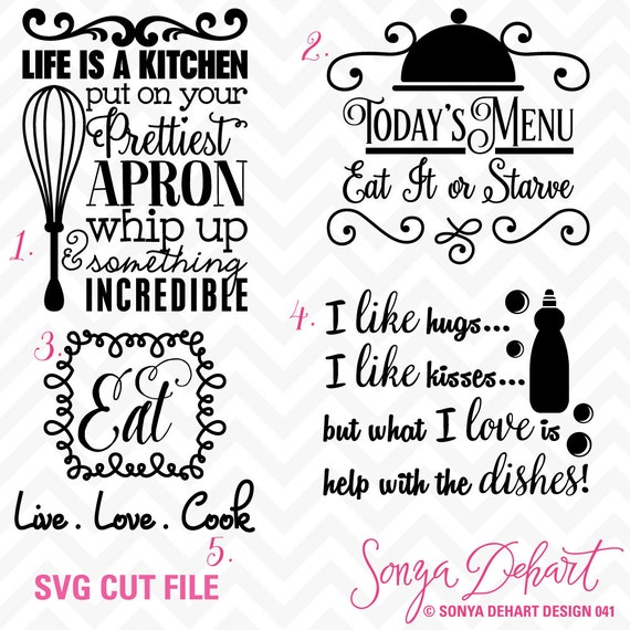 80% OFF Sale Svg Cuttables Kitchen Quotes Cut Files Set DXF