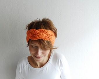 Chunky Headband Hand Knit Headband Headwrap Ear Warmer Orange Winter Accessories