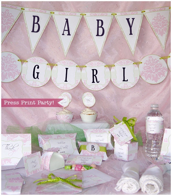 Pink Baby Shower Printables -Baby Girl Pink and Green Damask- w BONUS baby shower games - DIY Party Supplies and Decorations
