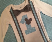 Boys Baby Mickey Mouse 1st Birthday Gray Bowtie Bodysuit, Baby Boy First Birthday Party, Boys Cake Smash Outfit, Mickey Party