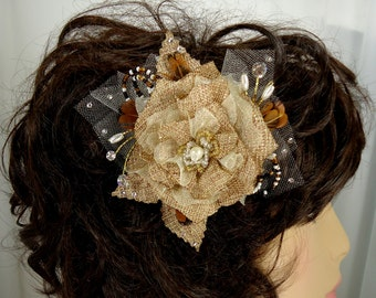 Bridal Fascinator, Burlap Hair Clip, Bridal Headpiece, Wedding Accessory