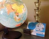 Reserved....Vintage Illuminated World Globe, Blue Water Spot Globe, Lamp Manual