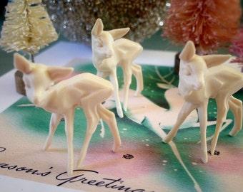 6 Tiny Deer, Miniature White Deer, Small Fawns